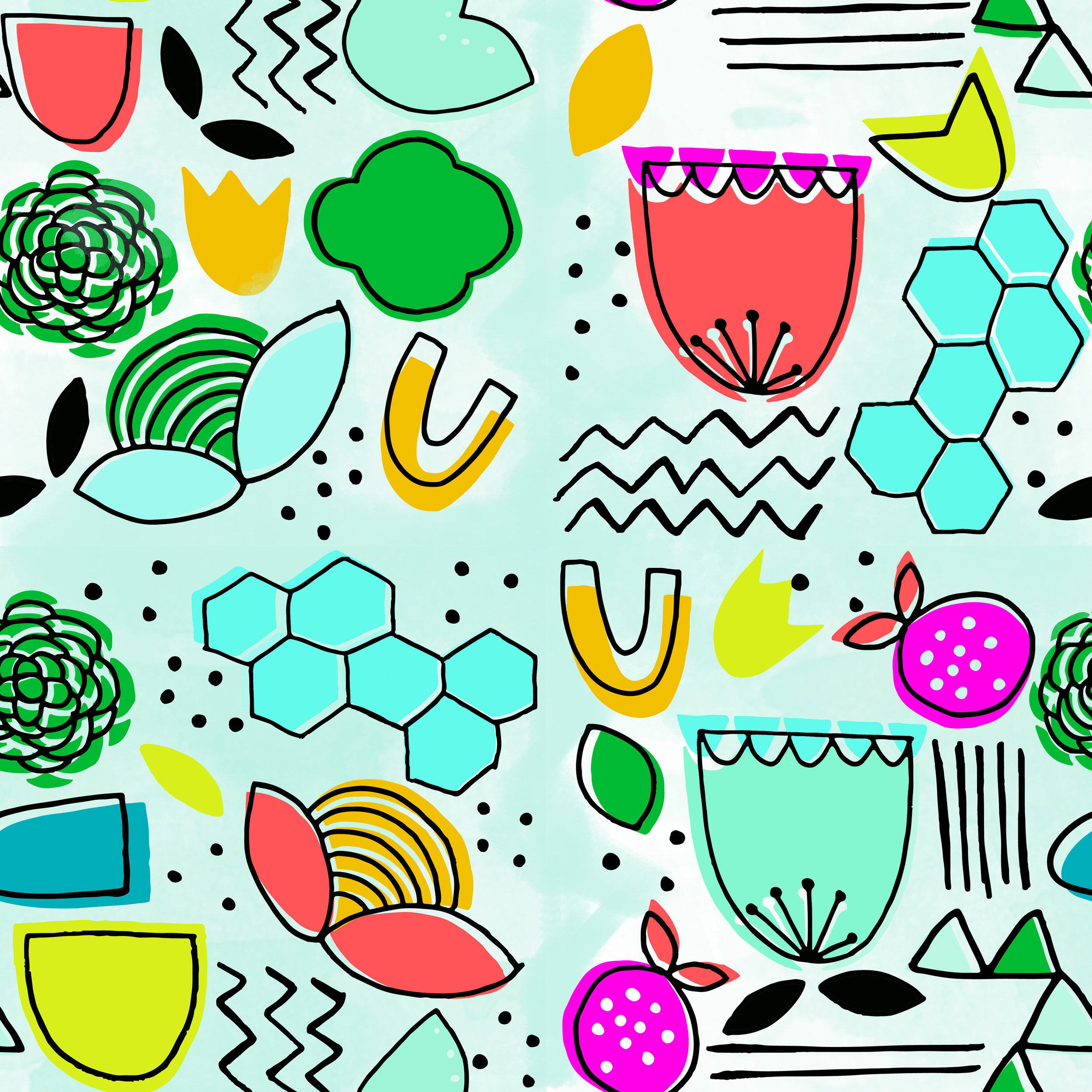 funky fresh floral | surface design by Allie Tate