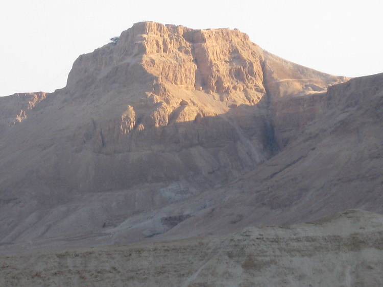 Masada - the Roman Wall is on the right - to the west.
