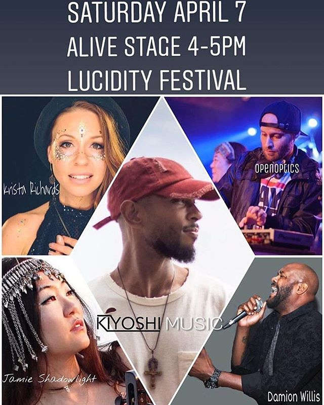 Who's going to @lucidityfestival ? I'm super stoked to be blessin it next Saturday with @kiyoshimusic and our super dope crew @jamieshadowlight @thekristarichards @damionwillismusic and maybe some surprise special guests. Great times ahead. Bless up! . . . #lucidity #lucidityfestival #music #art #hiphop #beats #highvibes #goodtimes #blessings #santabarbara #california #cali #festival