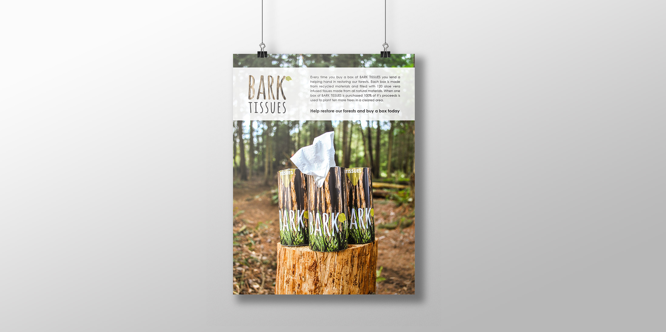 BARK TISSUES is a campaign  that strives to educate individuals of our environment's condition. When one box of BARK TISSUES is purchased the proceeds are used to plant trees in deforested areas. 2013 copyright Laurelle Armet