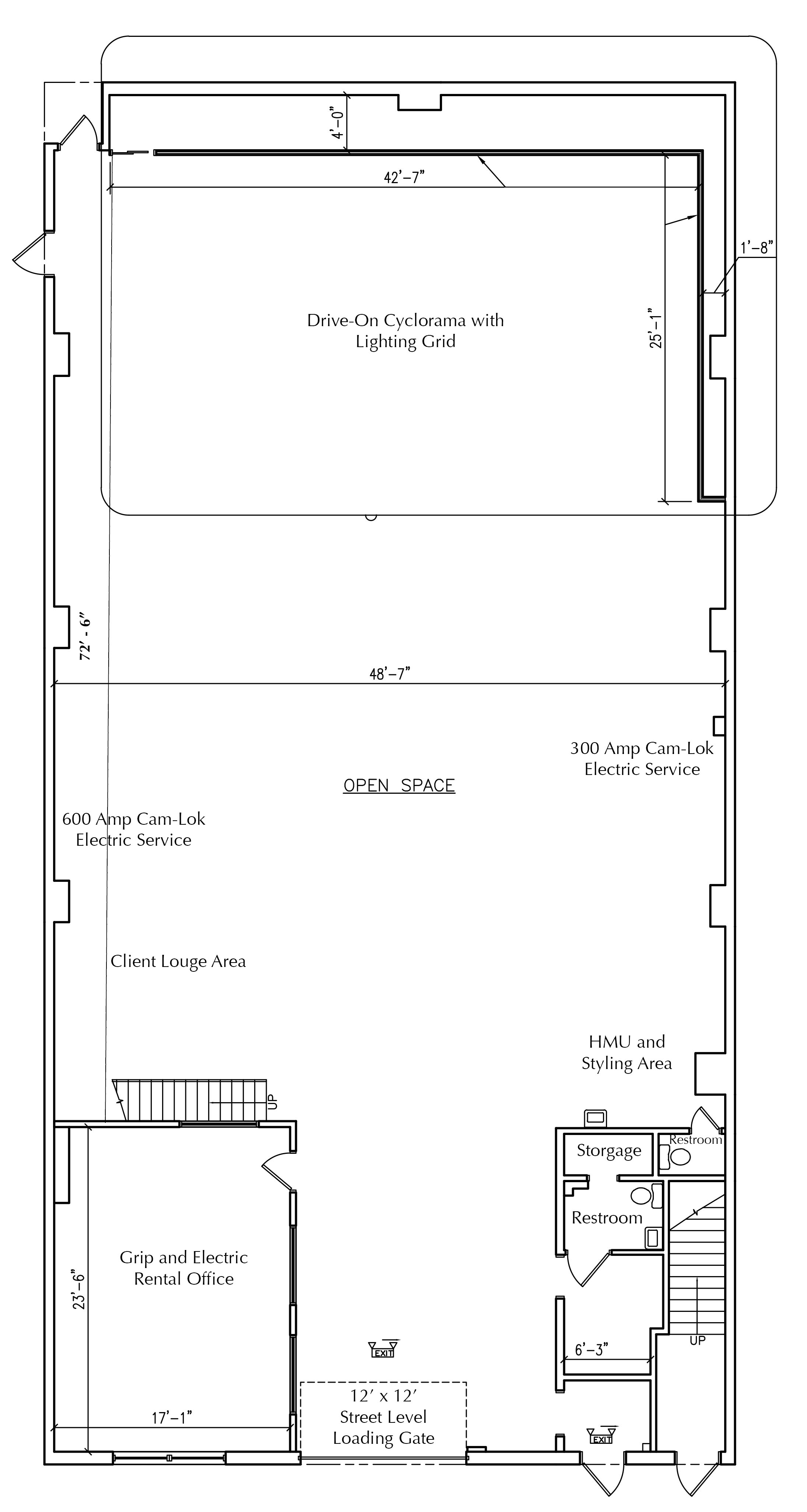 The floor plan of our soundstage NYC at Be Electric Studios in Brooklyn.