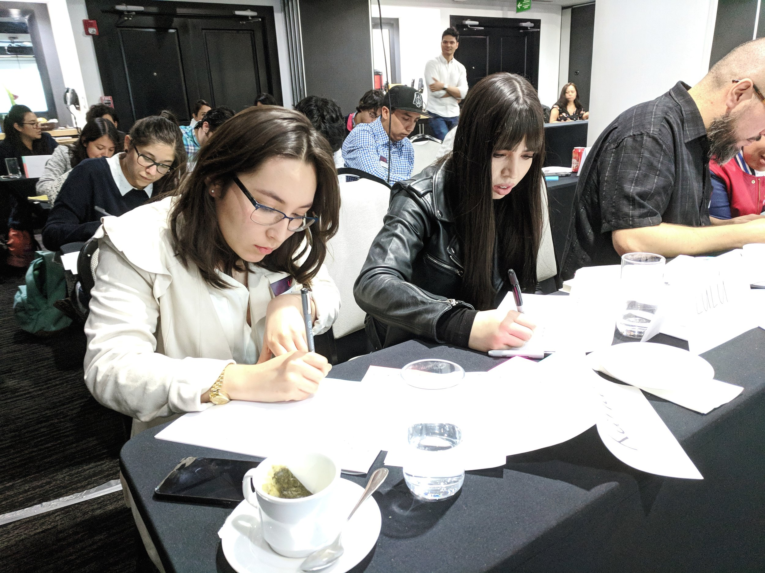 Students hard at work on user journey maps during a 2-day workshop in Mexico City.