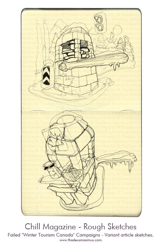 Thadeus Maximus Artworks - Sketch - Chill Magazine - Winter Tourism Canada - Sketch