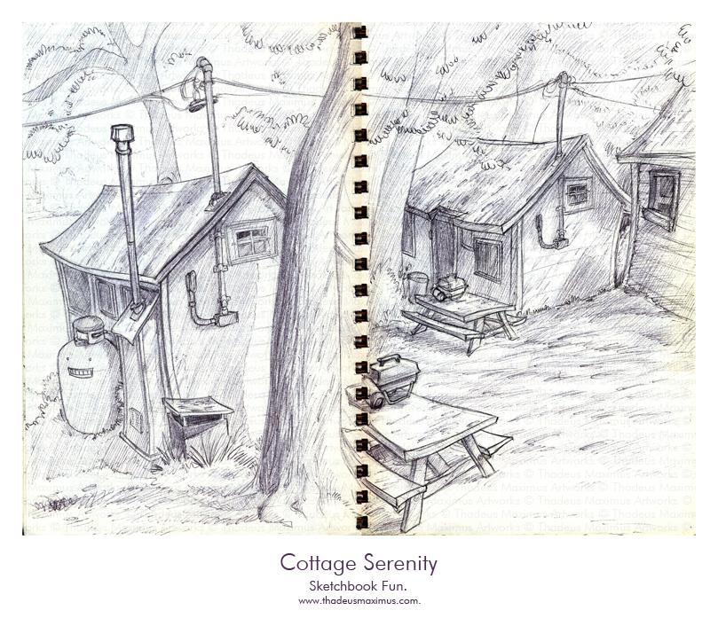 Thadeus Maximus Artworks - Sketch - Cottage Serenity