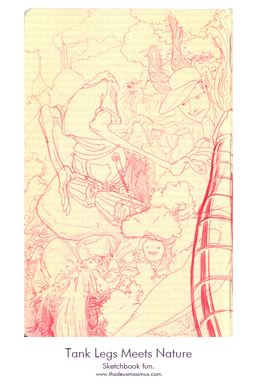Thadeus Maximus Artworks - Sketch - Tank Legs Meets Nature