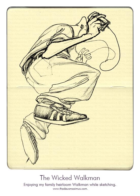 Thadeus Maximus Artworks - Sketch - The Wicked Walkman