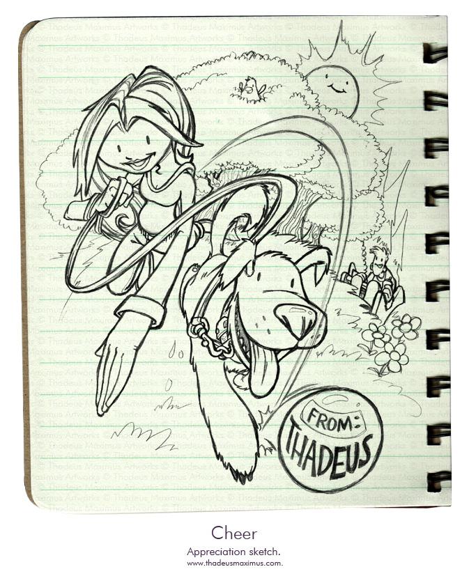Thadeus Maximus Artworks - Sketch - Cheer