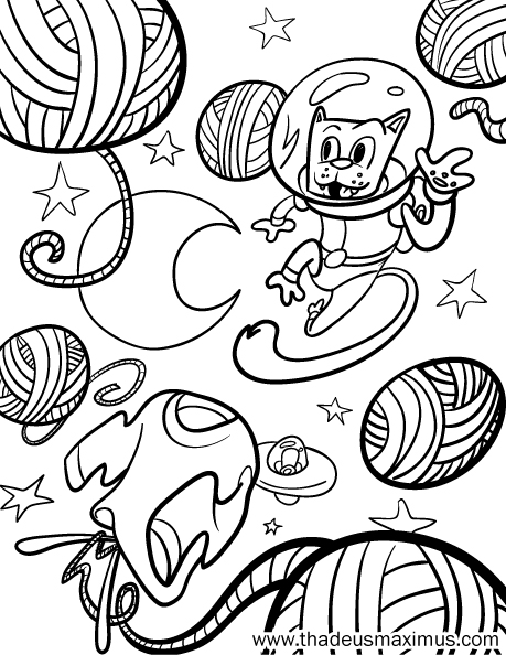 Yarn Crush Colouring Book - Space Cat
