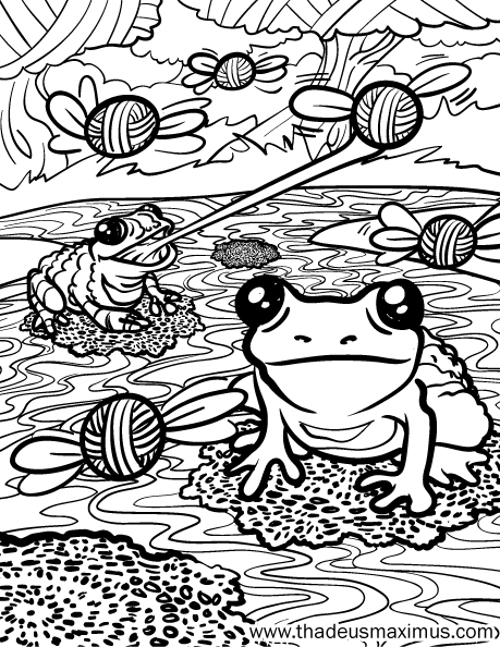 Yarn Crush Colouring Book - Frogs
