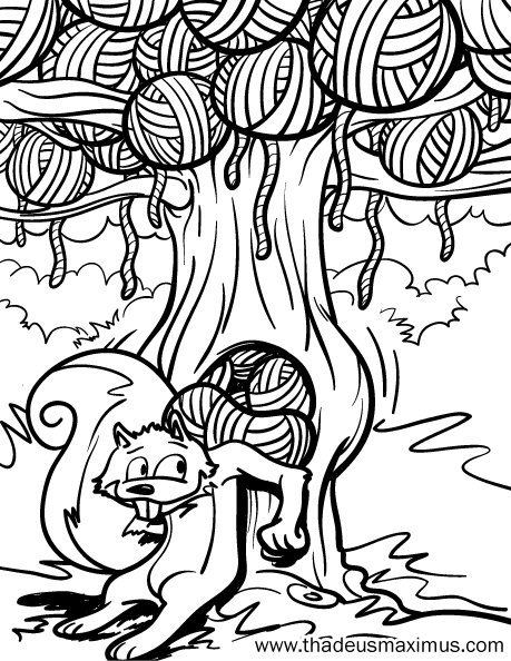 Yarn Crush Colouring Book - Squirrel