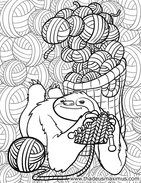 Yarn Crush Colouring Book - Sloth