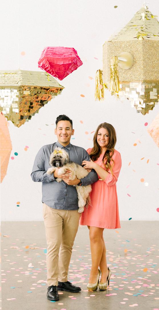 Save the Date Piñata Photoshoot | Sugar & Gold