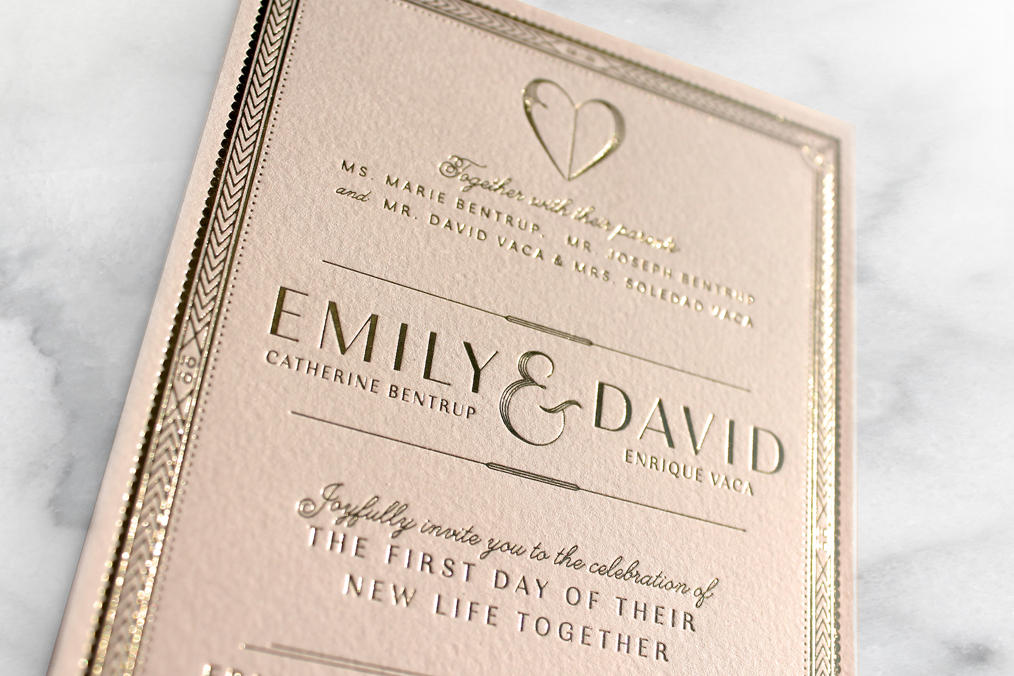 Blush and Gold Floral Wedding Invitation Suite | Sugar & Gold