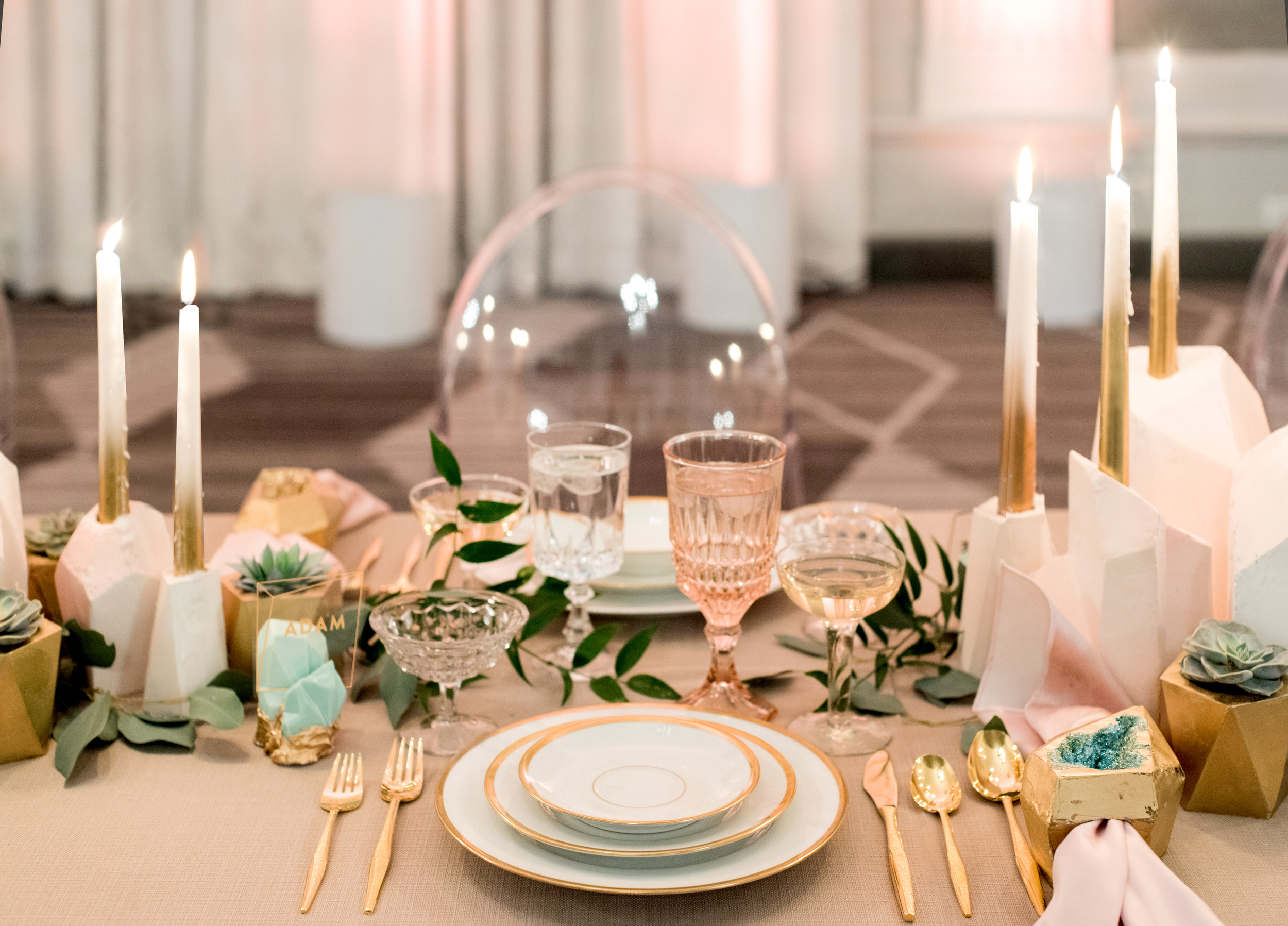 Sugar & Gold | Geode Wedding Inspiration Shoot | Blush Faceted Plaster Candle Centerpiece with Gold and Copper Ombrè Candlesticks
