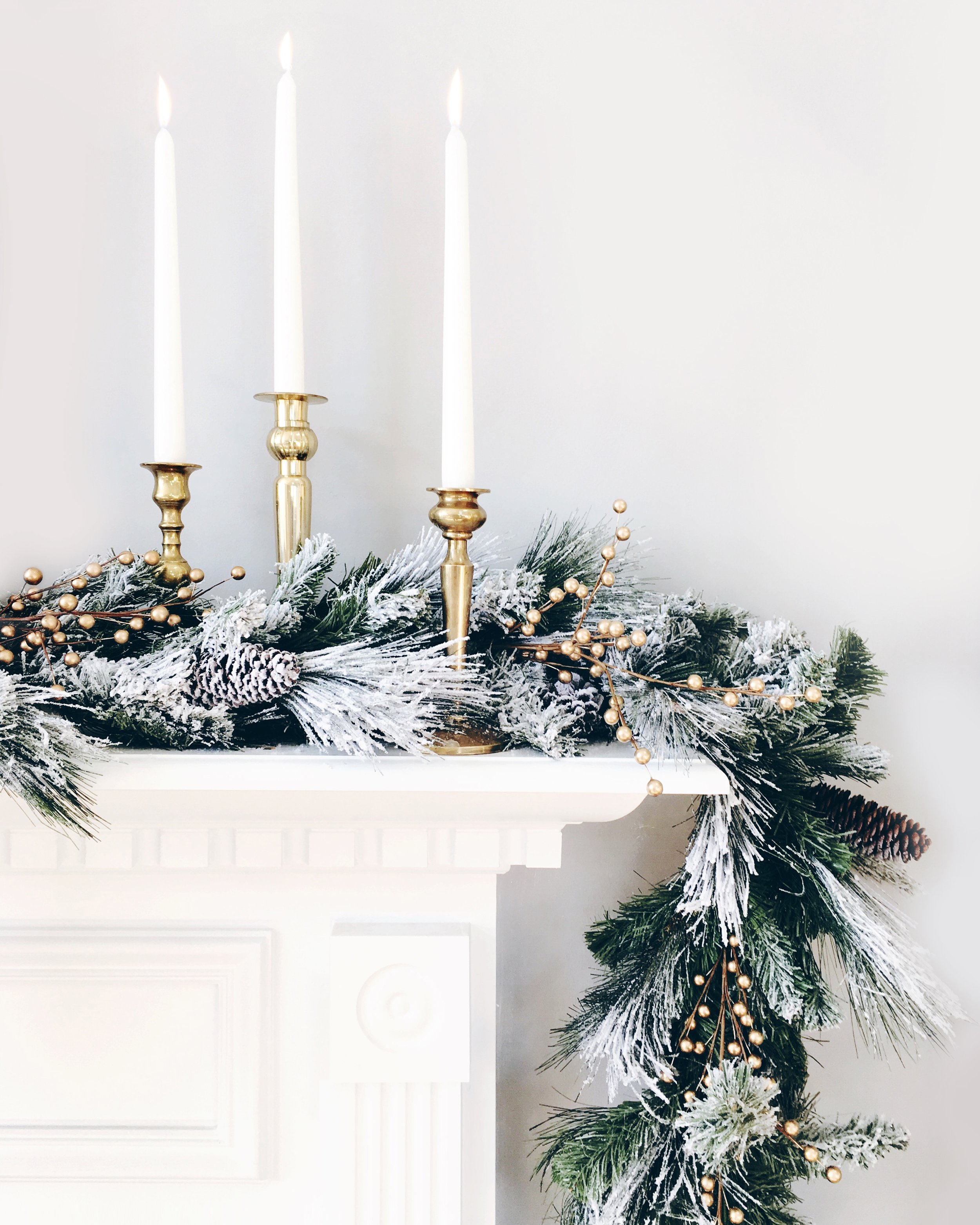 Sugar & Gold | Holiday Mantle with Snowy Garland