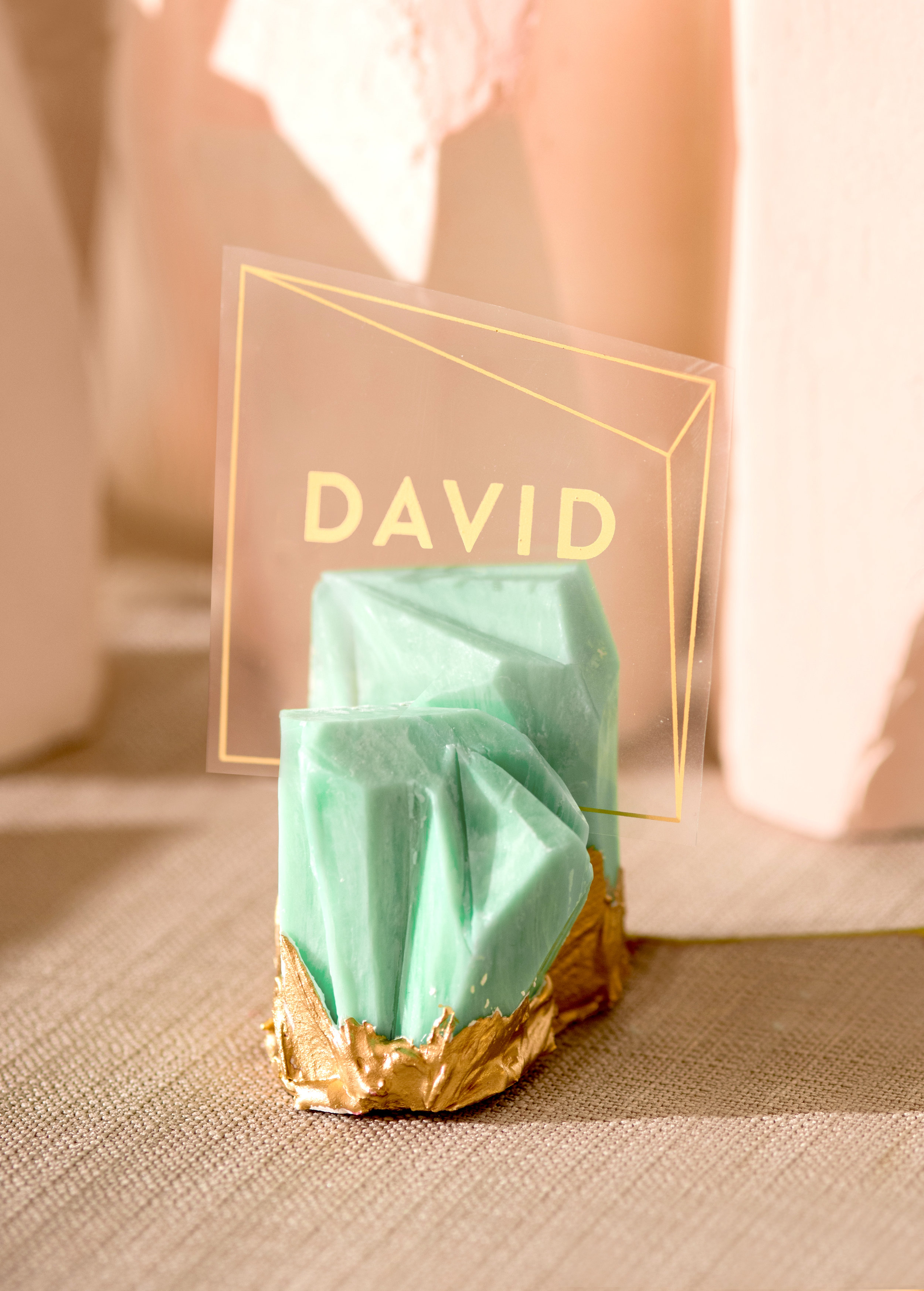 Sugar & Gold | Geode Wedding Inspiration Shoot | Gold Foil and Acrylic Escort Card with Faceted Jade Card Stand