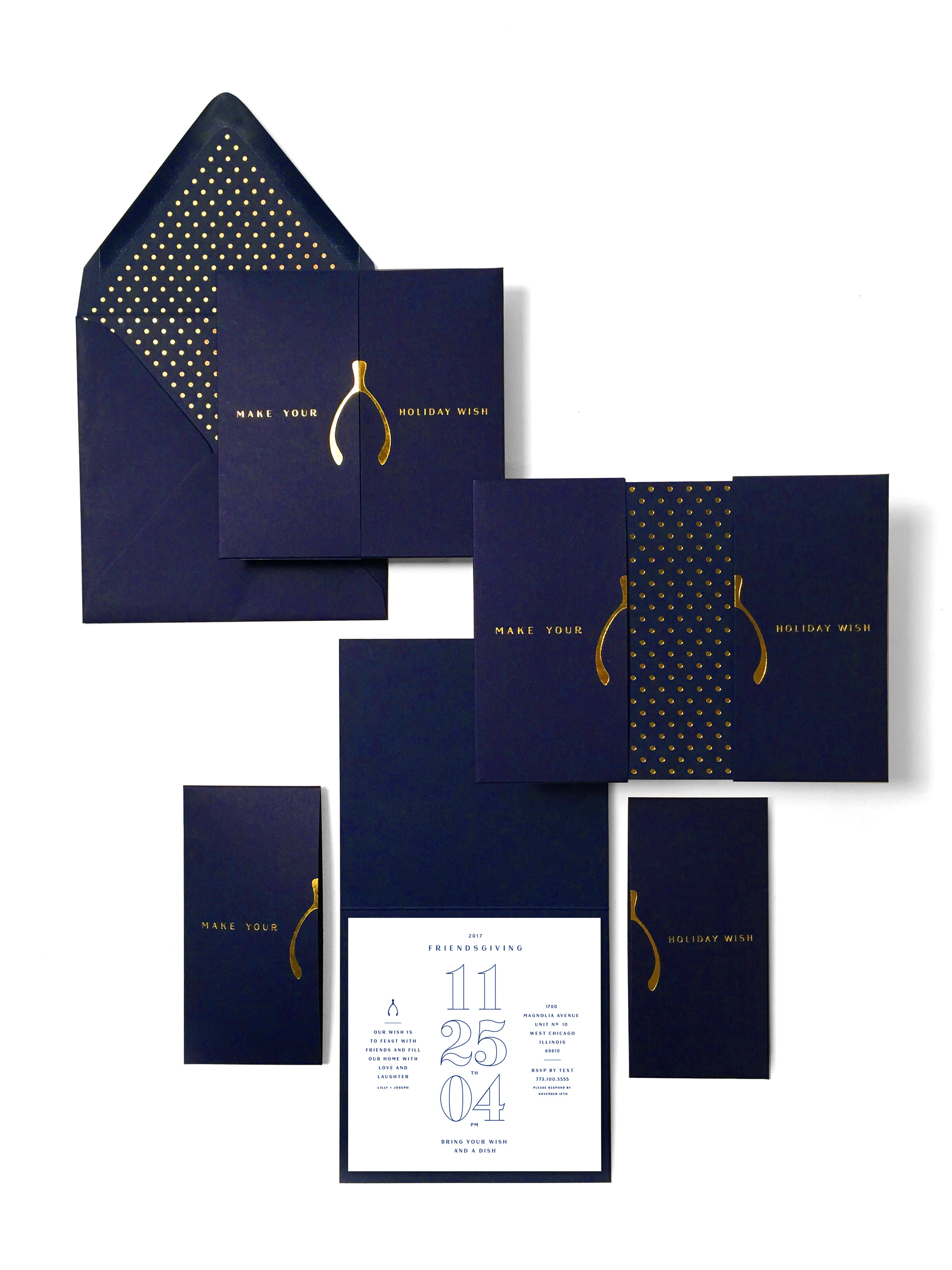 EMILY VACA | FRIENDSGIVING INVITATION | GOLD AND NAVY WISHBONE