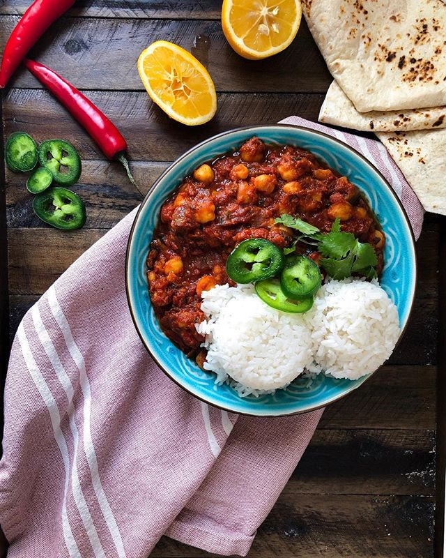 """I brought leftovers of this to work and told whoever asked that I made chana masala (pronouncing chana like the Jewish girls name). The obGYN I work with said, """"oh yes we have a dish that looks very similar but it's called Chana Masala"""" (hard ch sound) - very innocently thinking it was a completely different dish. That's when I do this move 🤦🏼♀️ I'm realizing that this was probably way funnier in person but either way this is a super delicious and easy dish and you can find the recipe on the @grandandessex page. Go check it!  #vegan #vegetarian #f52grams #feedfeed #healthy #indian #partner"""
