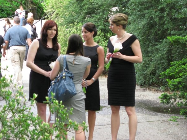 Checking in with the bridesmaids before the ceremony