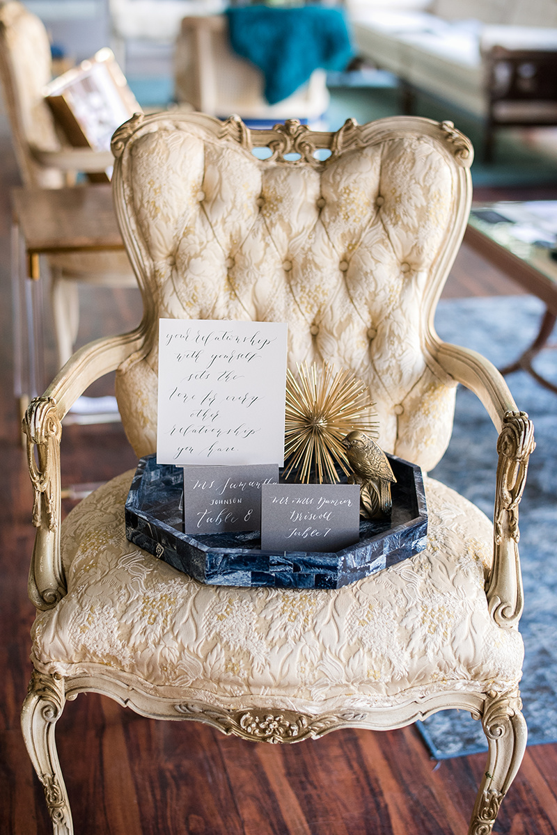 Invitation suite from The Paperly Studio, Vintage chair from Modern Relics