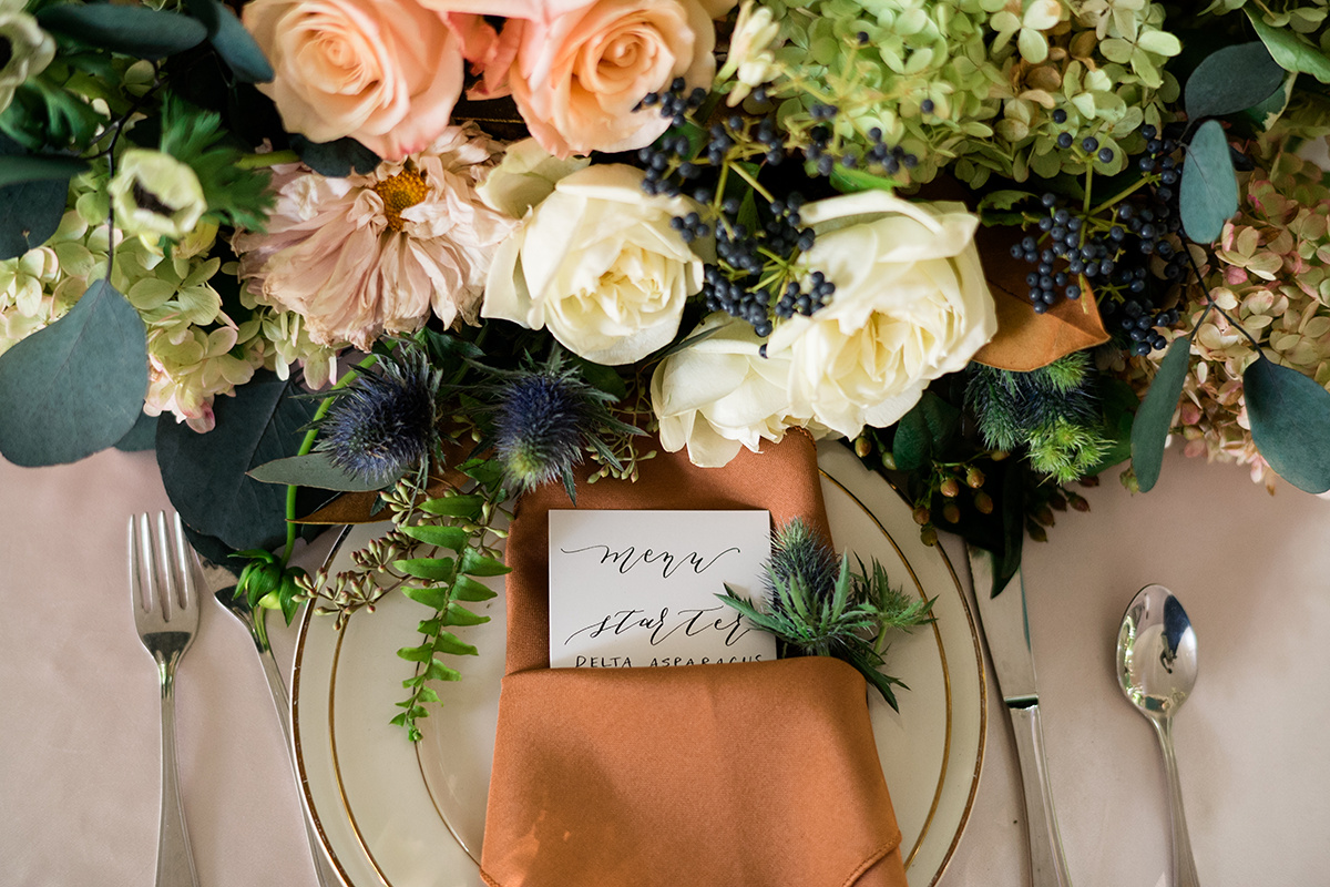 LOVE Jennifer Designs' color palette for her florals.  Menu Calligraphy by The Paperly Studio