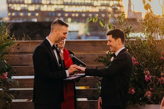 D+W's rooftop ceremony on a perfect autumn evening. Such a special night full of love and happiness!! 📷 @laurenspinelliphoto  @dobbinstnyc  @zoedeleucatering @permaflora @revsrak
