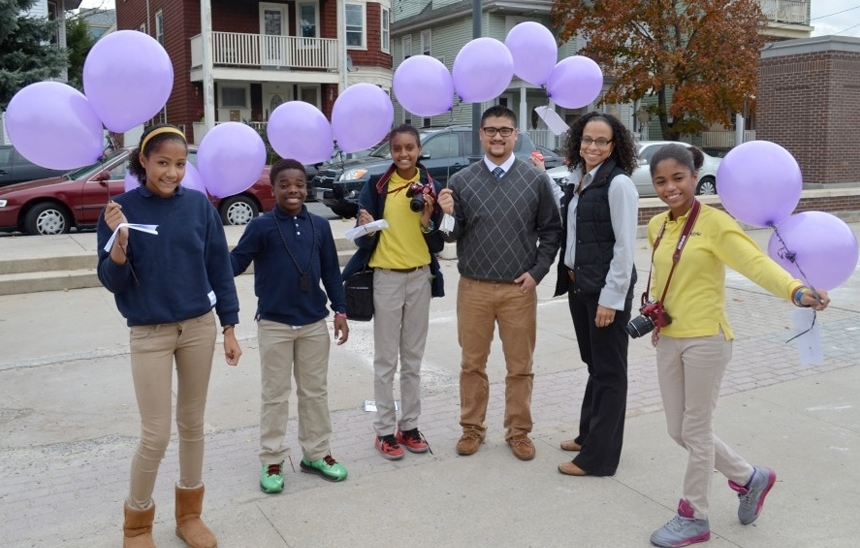 Epiphany School Students and staff. Second from right is Principal Michelle Sanchez