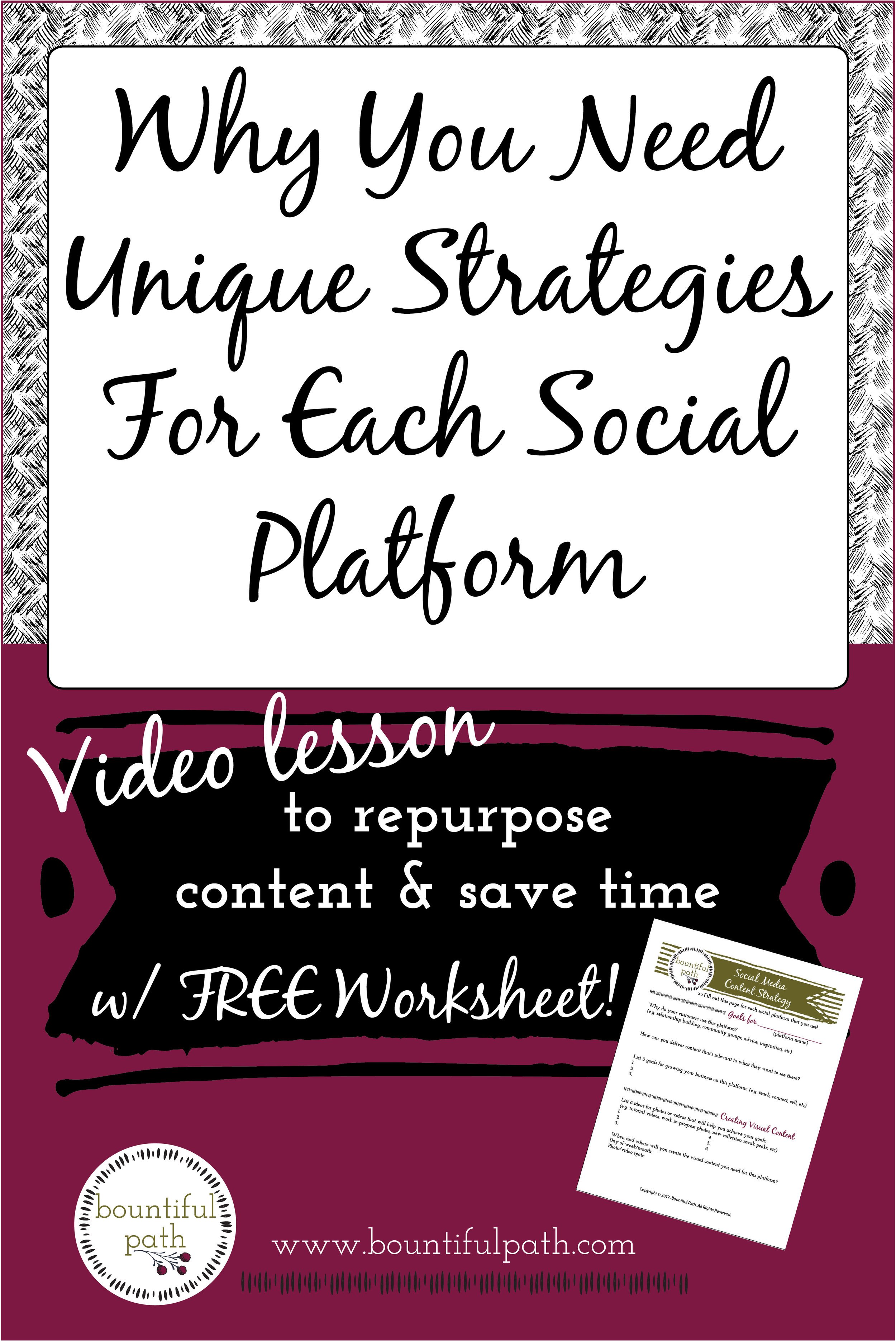 Save time by figuring out how to repurpose content for different social media platforms in order to connect with your audience in different ways. | Bountiful Path for makers to connect visually with their ideal customers through photo & video
