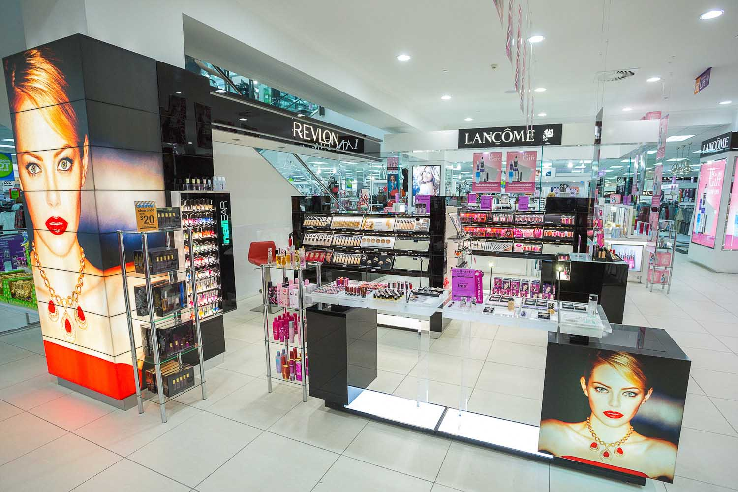 Revlon New Zealand - Farmers Centre Place Lloyd Sinton Design - retail and commercial interior design – space-planning – shop-fitting – fit out – spatial design – merchandising - signage