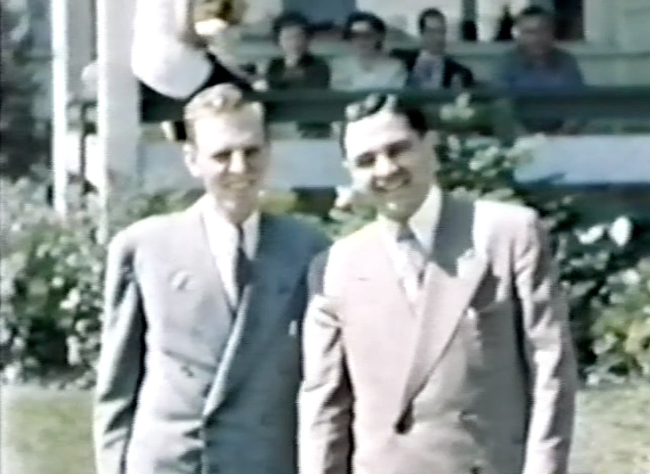 Evon (right) as a young man with Douglas Waters prior to his sendoff as a Canadian delegate to a Youth for Christ Congress at Beatenburg, Switzerland in 1948.