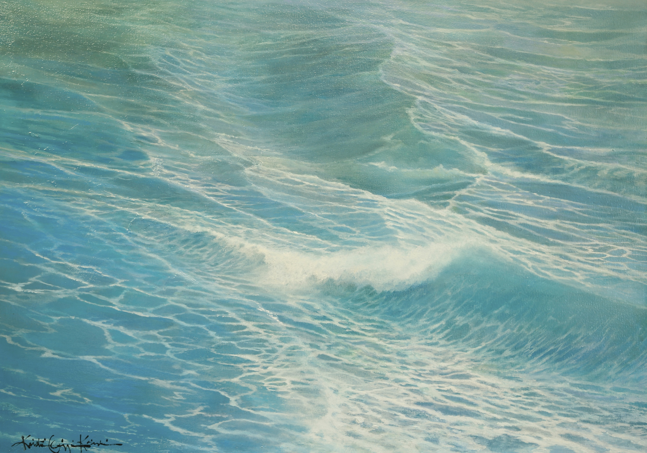This was my firstwater study in oil on canvas for  Immersed.