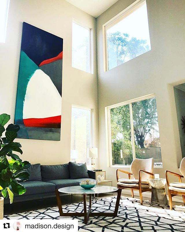 #Repost @madison.design ・・・ The living room is finally getting there! Oil on canvas 10'x4'  #artcollector @designwithinreach @westelm @homegoods @kristiekosmides #madisondesign #moderninteriors #abstractart #modernart #midcenturymodern #midcenturyboho #platnertable #designwithinreach #interiordesign #orangecounty #losangeles #california