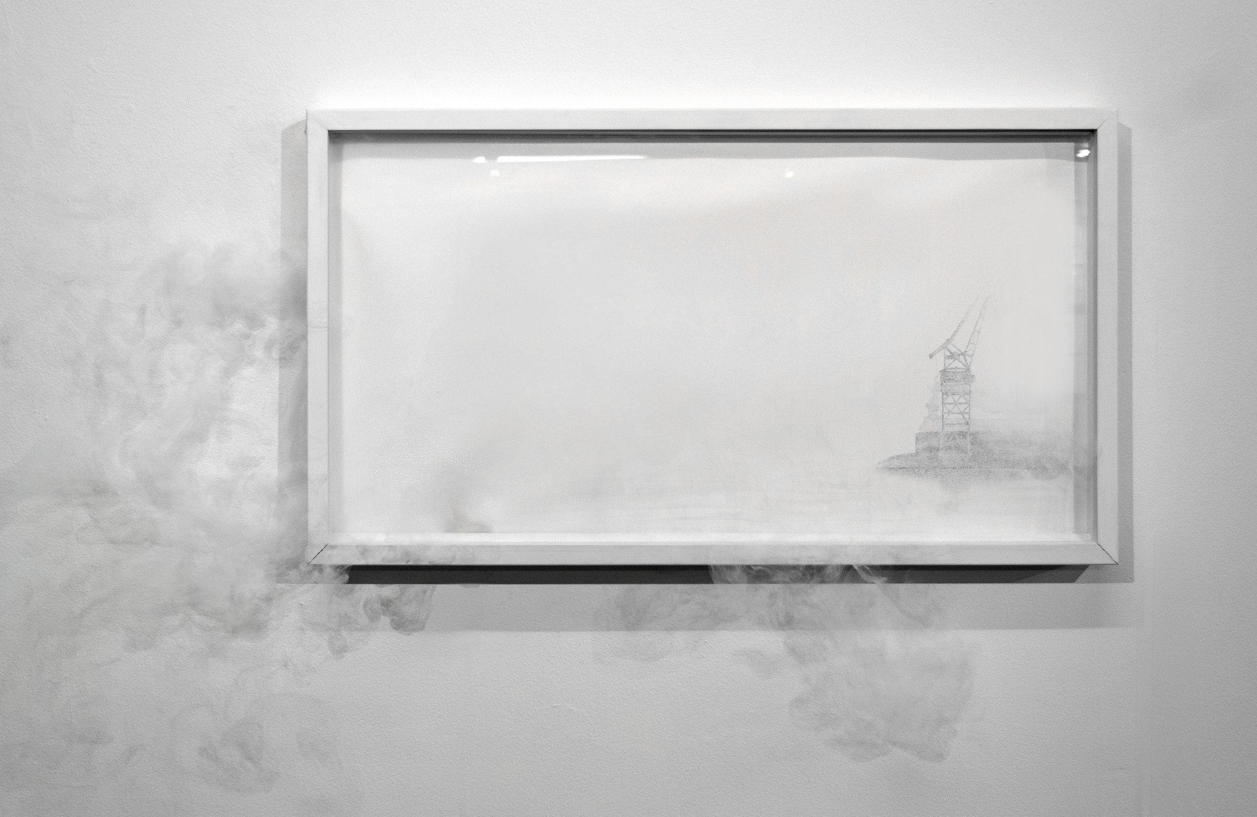Telakka  2017  akvatinta, lasikehys, savukone