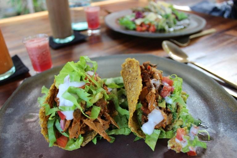 Jackfruit tacos som smelter på tungen er bl.a. en del af den veganske gourmet menu.