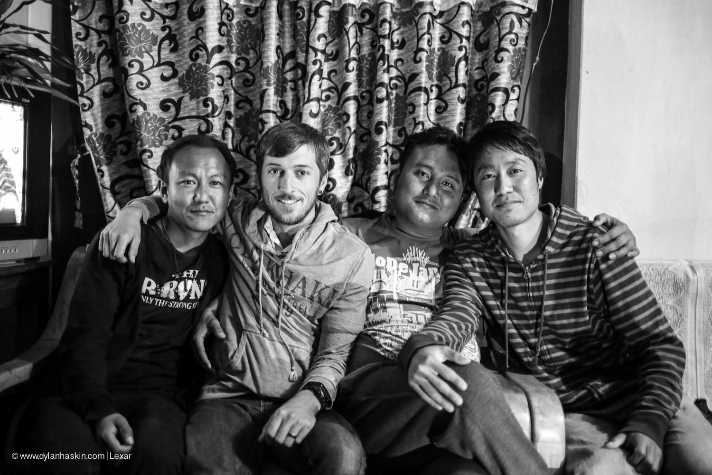 Tashi, me, Penjor and Tsheltrim visiting Penjor's family for New Years eve the day before I left