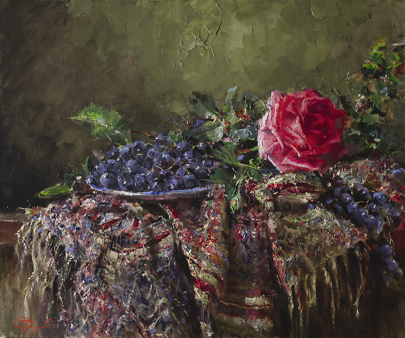 rose and grapes