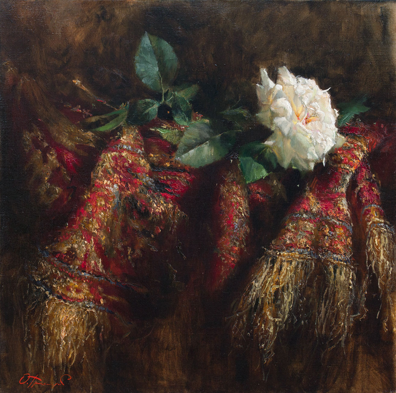rose on silk rug