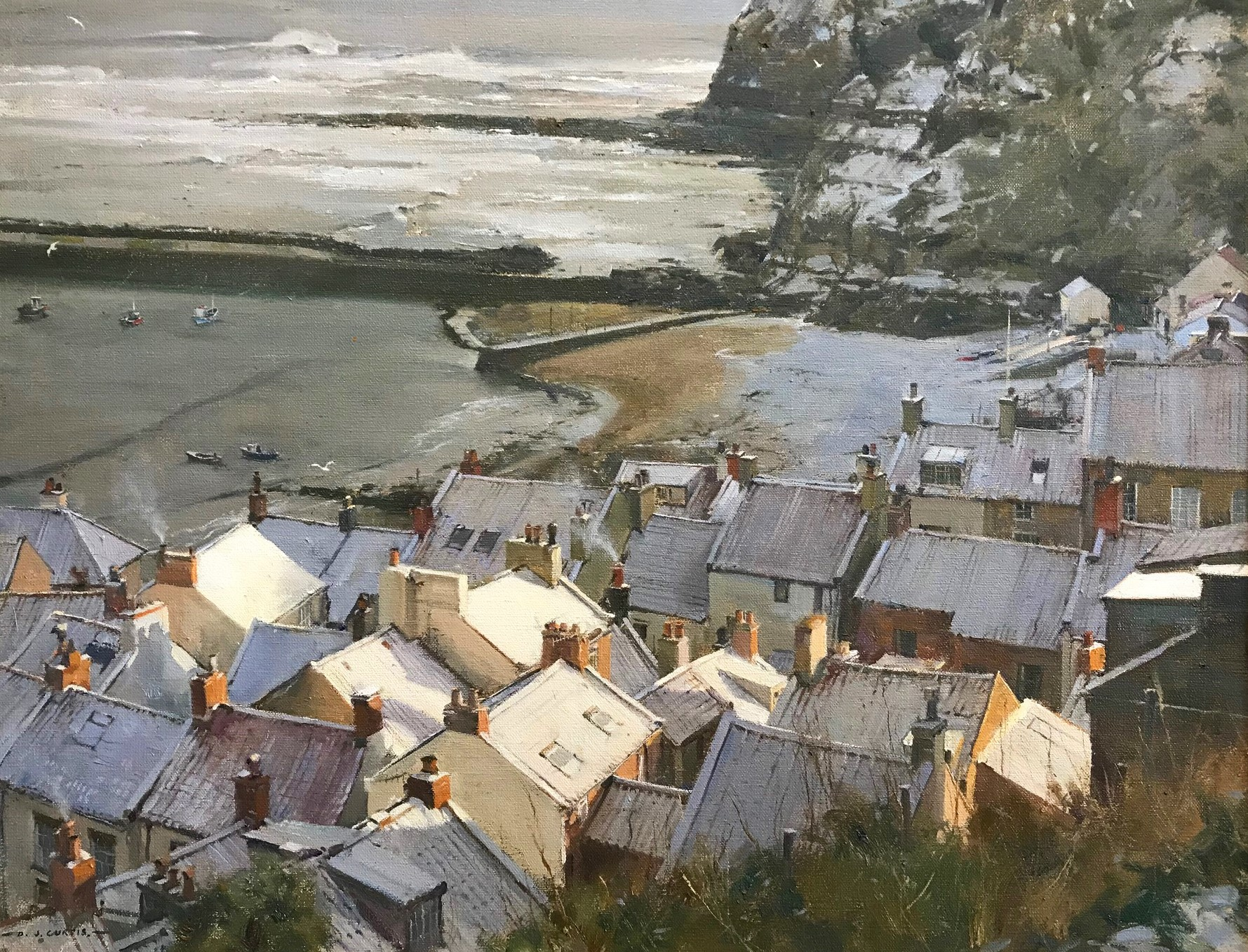 a dusting of snow, staithes