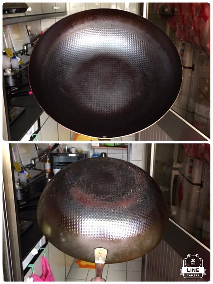 養成後的神器鐵鍋 - 黝黑中透著光,無須用多油就能自然不沾。