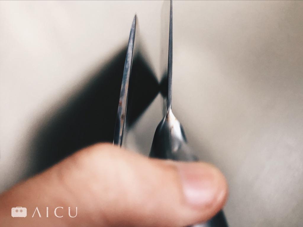 不鏽鋼菜刀為雙刃 - 雙開鋒,很好認。