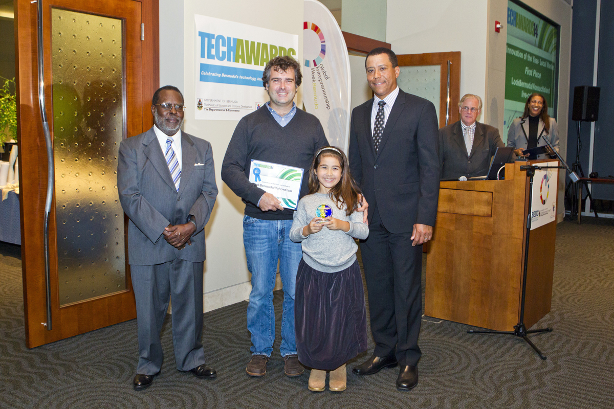 J-P & Sophie Rouja receiving TechAward for the CahowCam