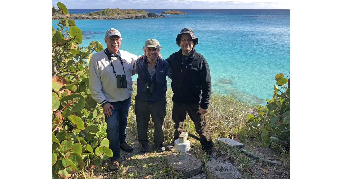John W. Fitzpatrick, Jeremy Maderios & J-P Rouja at the Nonsuch Expeditions CahowCam burrow.