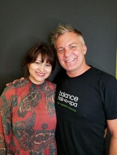 Alexandra Matiz and Balance Hair Spa owner Thomas Crisp.