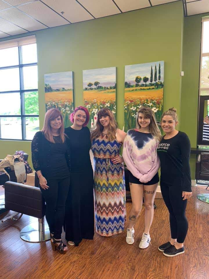 Alyssa, Hope, Brandy, and Rachel were treated to an updated Wella Class at our Exton location.