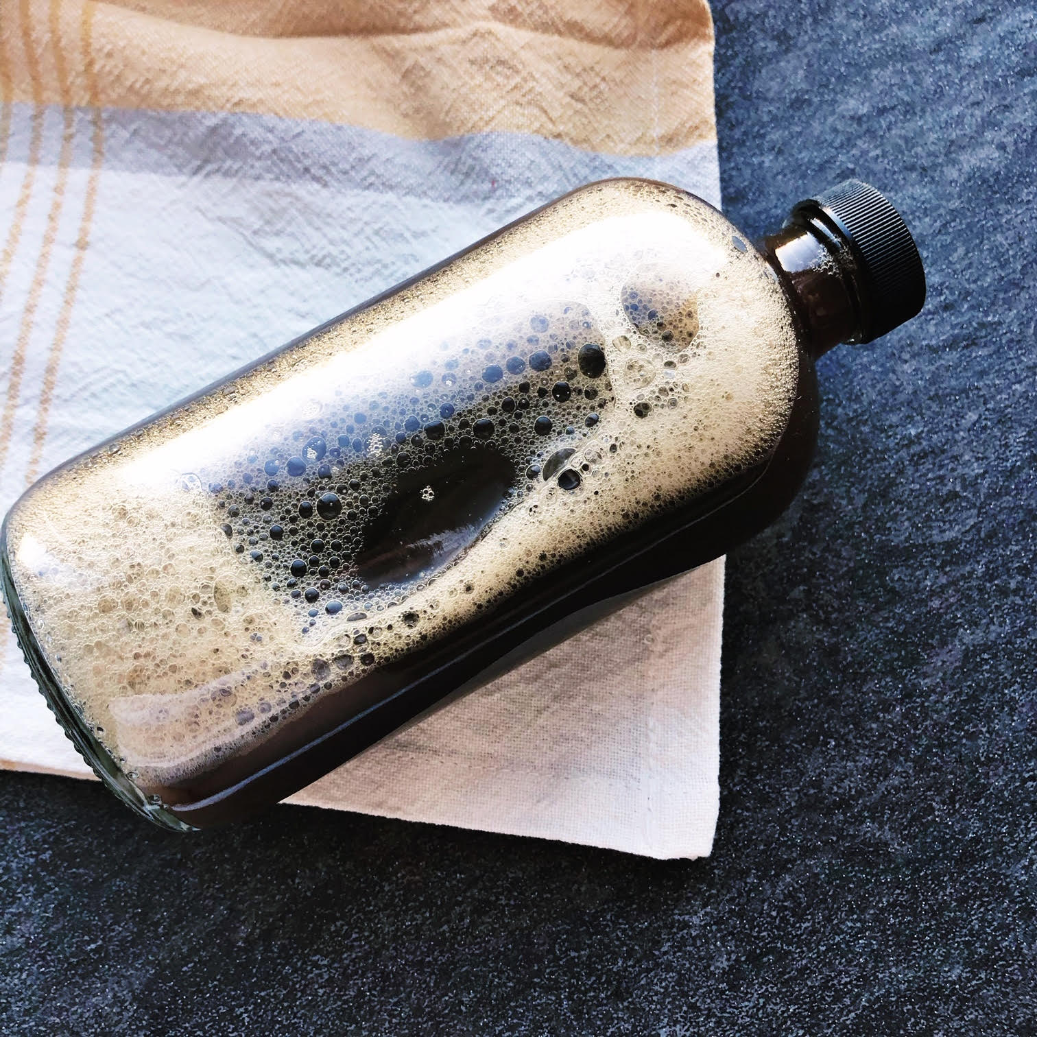 Cold brewed coffee in our Seek North Bottle