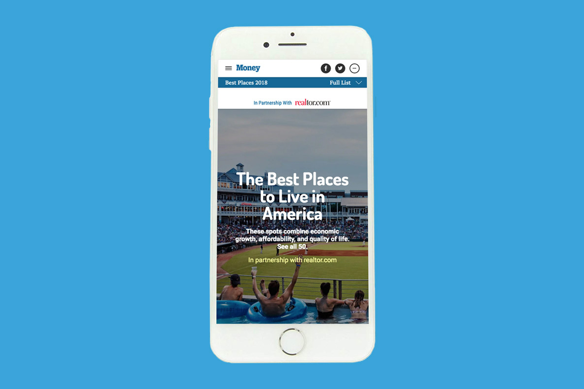 Mobile splash page of The Best Places to Live in America. Photograph by Joe Schmelzer.