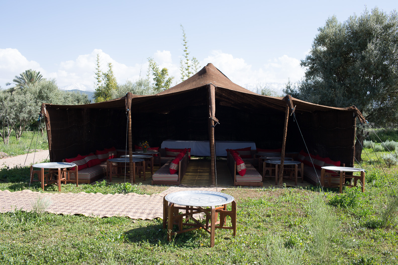 Berber tent and mechoui    - Traditional mechoui experience: whole lamb slow roasted in this special earth outdoor oven served under the Berber tent (by prior arrangement)