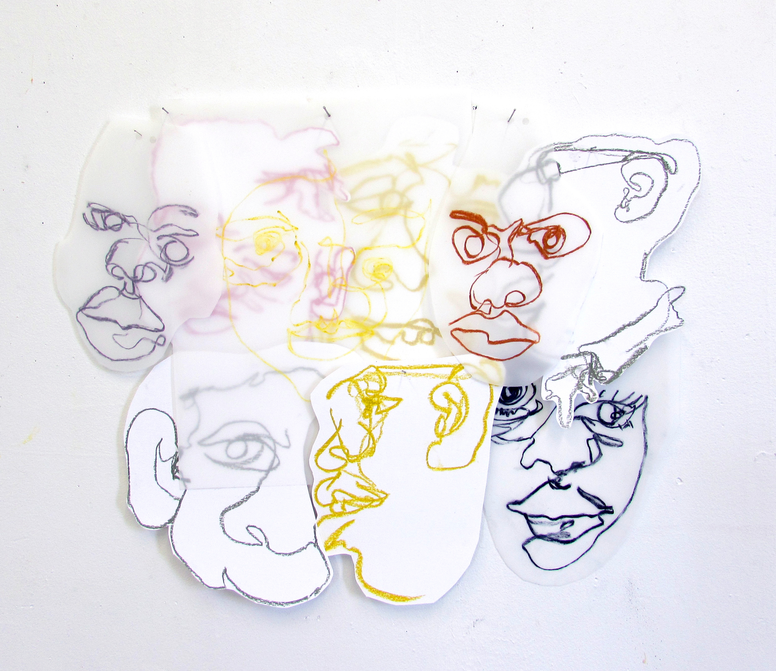Collaged drawings on paper and dura-lar