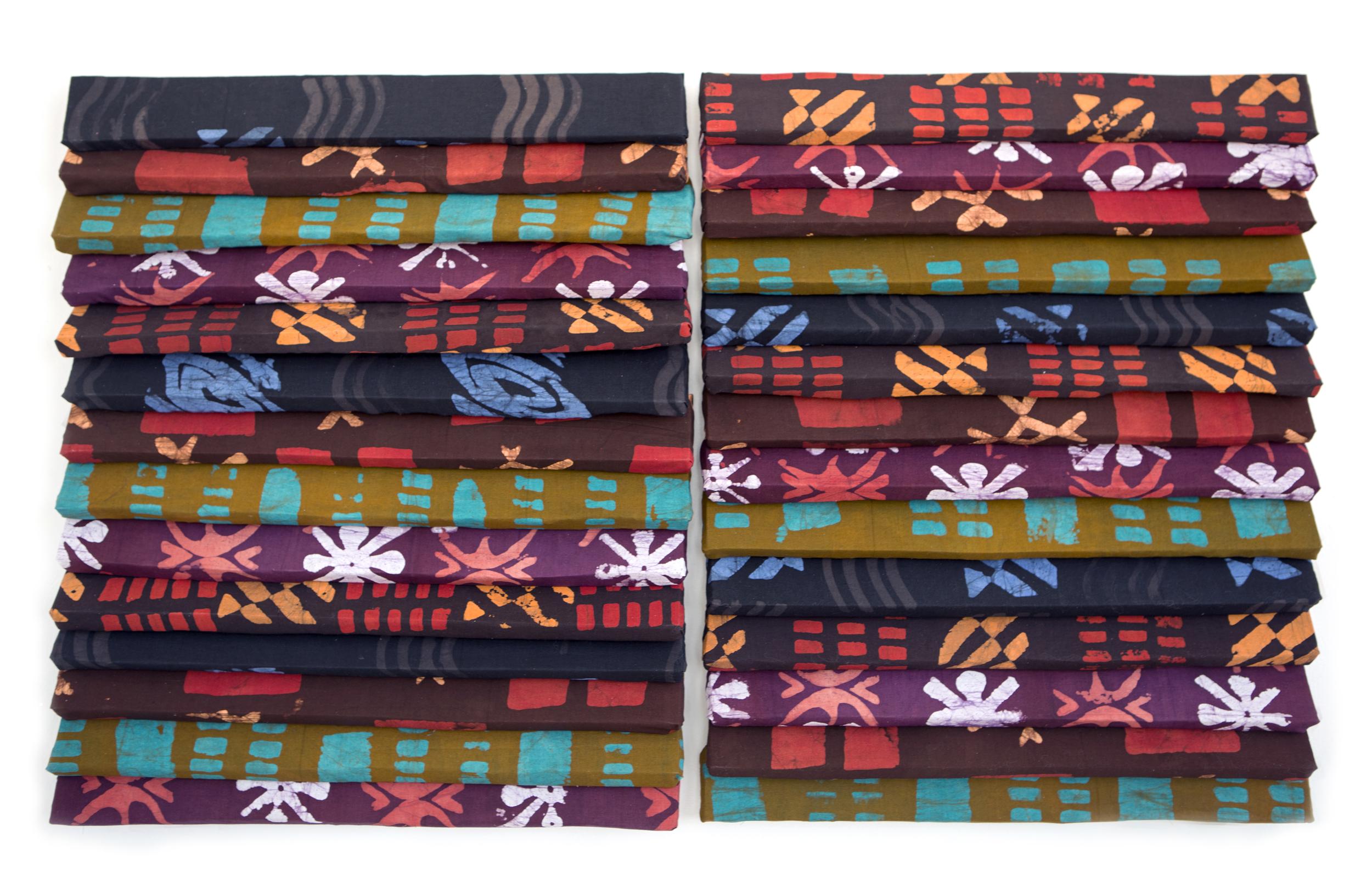 "Again and Again  | batik prints on cotton, foam | 51"" x 30"" x 3"" | 2016"