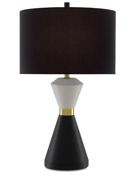 Cannes Table Lamp - Ooo, La La! The Cannes Table Lamp is covered in white and black leather, a slim brass ring accentuating its hourglass shape.